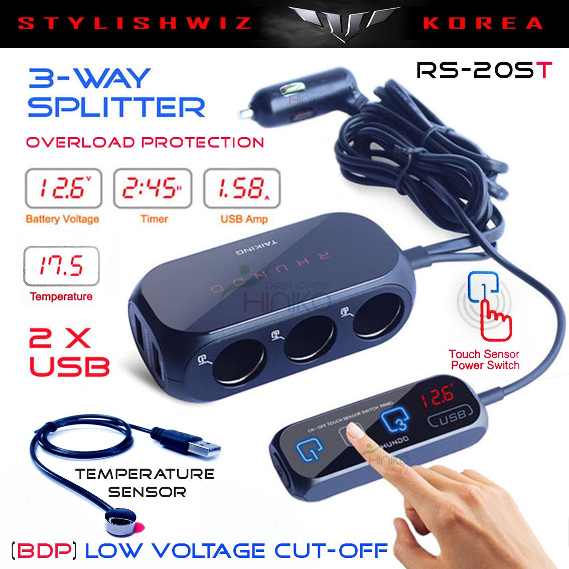 Rhundo Rs 20s 3 Way Car Cigarette Lighter Splitter Adapter Charger Two Sensor Switch 20st