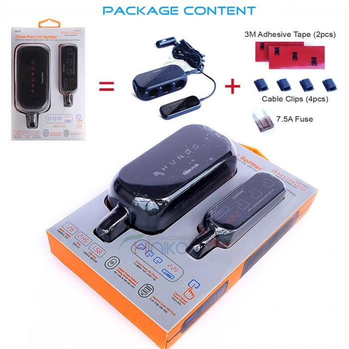 rhundo rs 20 3 way car cigarette lighter splitter adapter charger