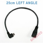 25cm Micro USB Left angle L-shape adapter video cable for Street Guardian SGZC12RC, Thinkware F750 ( SHIELDED )